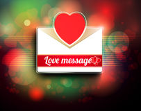 Valentine mail message with heart. And bokeh background Stock Photo
