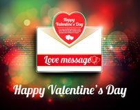 Valentine mail message with heart. And bokeh background Stock Images