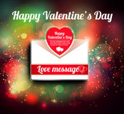 Valentine mail message with heart Stock Photos