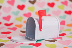 Valentine mailbox and hearts Royalty Free Stock Photo