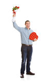 Valentine: Man Holding Bouquet Aloft Royalty Free Stock Image
