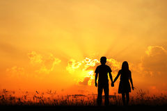 Valentine Man and Woman love silhouette in sunset. Man and Woman love silhouette in sunset Royalty Free Stock Photography