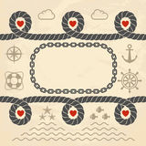 Valentine in marine style stock illustration