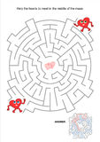 Valentine maze. Valentine's Day themed maze game: Help the hearts to meet. Answer included Stock Image