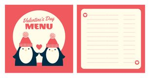 Valentine menu penguins square Stock Image
