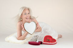 Valentine Message Girl Royalty Free Stock Photos