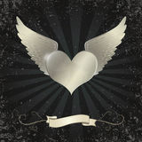 Valentine metal heart with wing Stock Photography