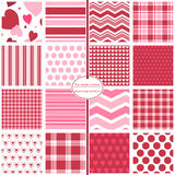 Valentine's Day Seamless Patterns. 16 seamless patterns in red and pink for Valentine's Day includes heart, stripe, chevron, gingham, plaid, and Stock Photo
