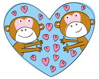 Valentine Monkeys Stock Photography