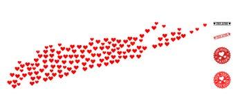 Valentine Mosaic Map av Long Island och Grungestämplar för valentin stock illustrationer