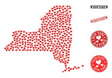 Valentine Mosaic Map of New York State and Grunge Stamps for Valentines vector illustration