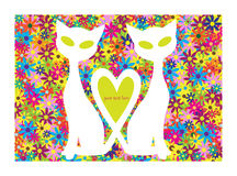 Valentine motive with cats and flowers Stock Photos