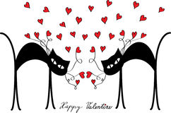 Valentine motive with cats and hearts. Color valentine card with two black cartoon cats and red hearts Royalty Free Stock Photography