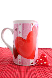 Valentine mug and heart Royalty Free Stock Image