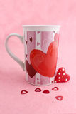 Valentine mug and heart Royalty Free Stock Photo