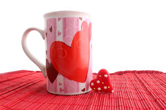 Valentine mug and heart Stock Photos