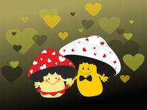 Valentine mushrooms lovers Stock Photos