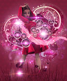 Valentine music girl in pink dress Stock Photography