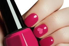 Valentine nail art manicure. Valentines day holiday style bright Stock Photography