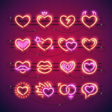 Valentine Neon Hearts Stock Photography