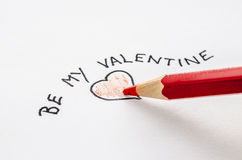 Valentine note on a paper Royalty Free Stock Photography