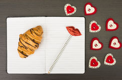 Valentine notebook Royalty Free Stock Photography