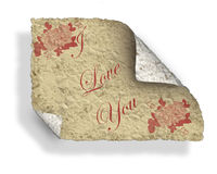 Valentine Old Love Letter. Old Love Note, dirty and crumpled and curled. Illustration Royalty Free Stock Image