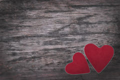 Valentine. Old wooden background Red heart on the table Stock Images
