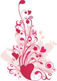 Valentine ornament with heart-shapes. Grunge valentine ornament with heart-shapes Stock Images