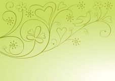 Valentine ornamental background. With heart and bird royalty free illustration