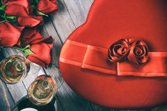 Valentine: Overhead View Of Gifts Of Roses, Candy And Champagne Royalty Free Stock Photos