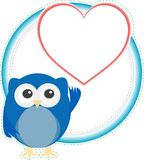 Valentine owl boy with heart. holiday vector card Royalty Free Stock Photography
