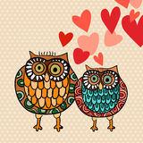 Valentine owl couple in love Royalty Free Stock Image