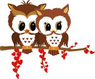 Valentine owls. Scalable vectorial image representing a valentine owls, isolated on white Stock Photos
