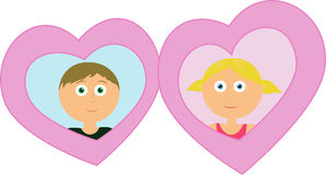 Valentine pair of Boy and girl in hearts Stock Images