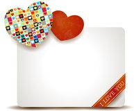 Valentine-paneel met kleurrijke harten Stock Fotografie
