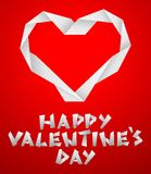 Valentine paper heart. On the red background Stock Image