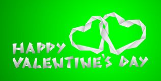 Valentine paper hearts. On the green background Royalty Free Stock Photos