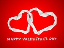Valentine paper hearts. On the red background Royalty Free Stock Photo