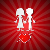 Valentine Paper Red background. With Man, Woman and Heart Royalty Free Stock Image
