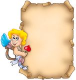 Valentine parchment with Cupid Royalty Free Stock Photos