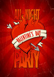 Valentine-partijontwerp met het branden van hart vector illustratie