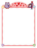 """Valentine party frame with owl and love letter mailbox. This is a Valentine's Day frame sized just right for an 8.5"""" x 11"""" printout. Use this to layout Royalty Free Stock Photo"""