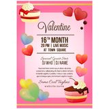 Valentine party poster template with slice of chocolate cake. Colorful valentine party poster template with slice of chocolate cake stock illustration