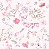 Valentine pattern. Valentine sketch cat pattern couple Stock Photography