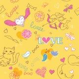 Valentine pattern. Valentine sketch cat pattern couple Royalty Free Stock Photos