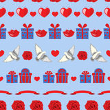 Valentine pattern on blue Royalty Free Stock Images