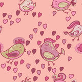 Valentine pattern with hearts, birds Stock Images