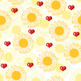 Valentine pattern with hearts and flowers Stock Photo
