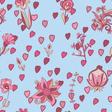 Valentine pattern with hearts, flowers. Seamless texture with flowers Stock Image